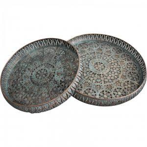 Set of 2 MOROCCAN Pressed Metal Ornate TRAYS