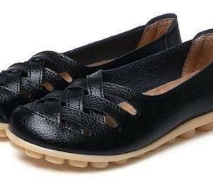 AUYI Full Soft Leather Comfort Shoes -Black
