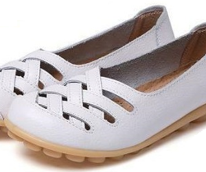 AUYI Full Soft Leather Comfort Shoes -White