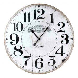 Large Wall Clock 58cm CAFE DE LA TOUR Wooden Rustic