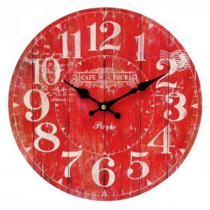 WALL CLOCK 34cm Cafe de la Tour RED