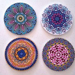 COASTERS Set of 4 CERAMIC Mats Boho Mandala
