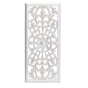 Hamptons White Wood Carved Wall Art Hanging 91cm