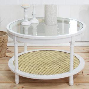 COFFEE TABLE Timber Rattan GLASS Top Round HAMPTONS 80cm
