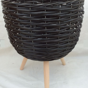 LARGE Black Wicker Plant POT Holder PLANTER Stand