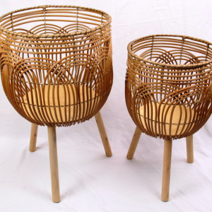 EXTRA LARGE Rattan 'Look' PLANTERS Plant Pot Stands Set of 2